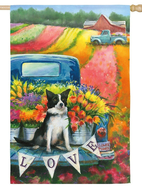 "**OPEN FLAG NO PACKAGING** Flower Truck & Dog 13S4177 Suede HOUSE Flag 28"" x 44"""