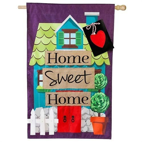 "**OPEN FLAG** Home Sweet Home 13L4670 Evergreen Linen HOUSE Flag 28"" x 44"""