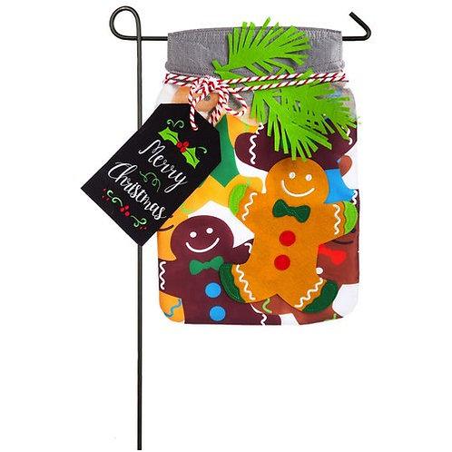 "**OPEN FLAG** Gingerbread Jar 168703BL Evergreen Applique Garden Flag 12.5""x18"""
