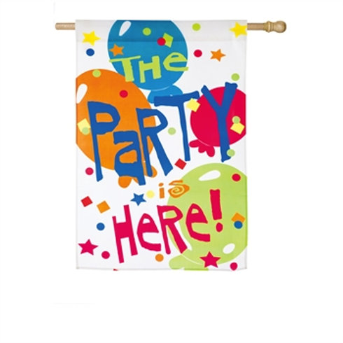 """The Party is Here Z132192 Evergreen Satin HOUSE Flag 28"""" x 44"""""""
