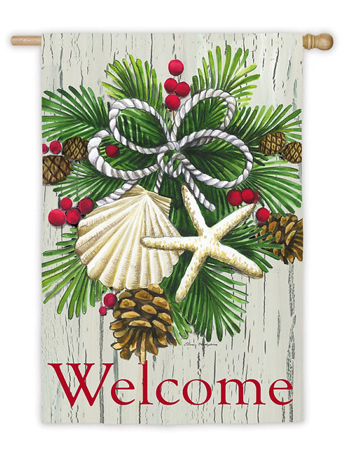 "Coastal Christmas 13S3529 Evergreen Suede HOUSE Flag 28"" x 44"""