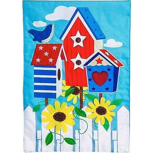 "Patriotic Birdhouse 14L4195BL Evergreen Linen Garden Flag 12.5"" x 18"""
