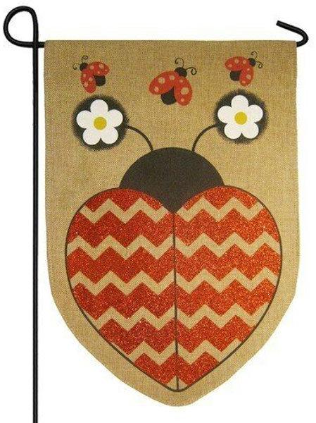 """Love Ladybug 14B3246BL Evergreen Burlap Garden Flag 12.5"""" x 18"""""""