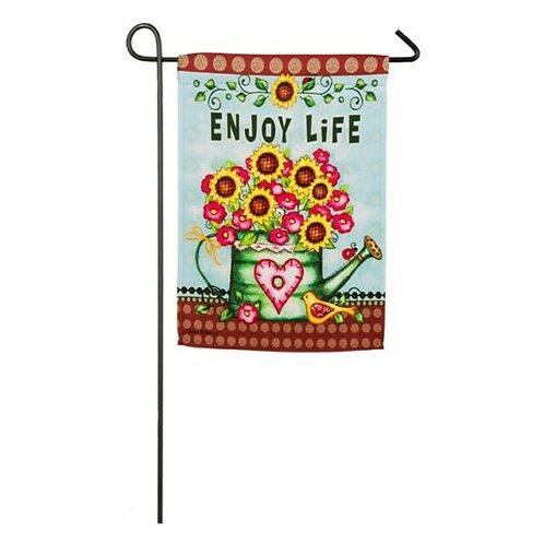 "Enjoy Life Watering Can 14S4151 Evergreen Suede Garden Flag 12.5"" x 18"""