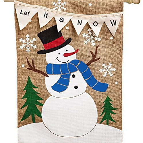 "Let it Snow 13B3444BL Evergreen Burlap HOUSE Flag 28"" x 44"""