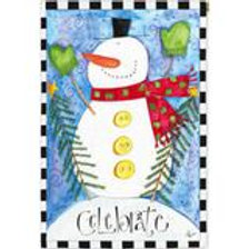 """Celebrate Snowman 13S2652 Evergreen Suede HOUSE Flag 28"""" x 44"""""""