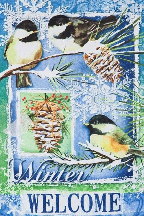 """Winter Welcome 13S4615 Evergreen Suede HOUSE Flag 28"""" x 44"""""""