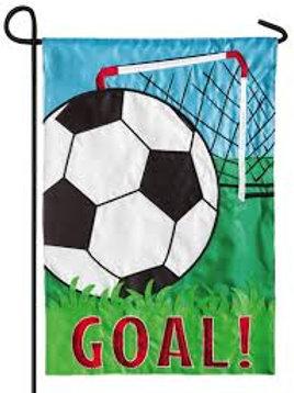 """Soccer Goal 168446 Evergreen Applique Garden Flag 12.5"""" x 18"""""""