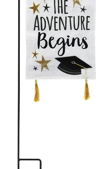 "Graduation Adventure ZSTG14B9055 Evergreen Burlap Garden Flag 12.5"" x 18"""