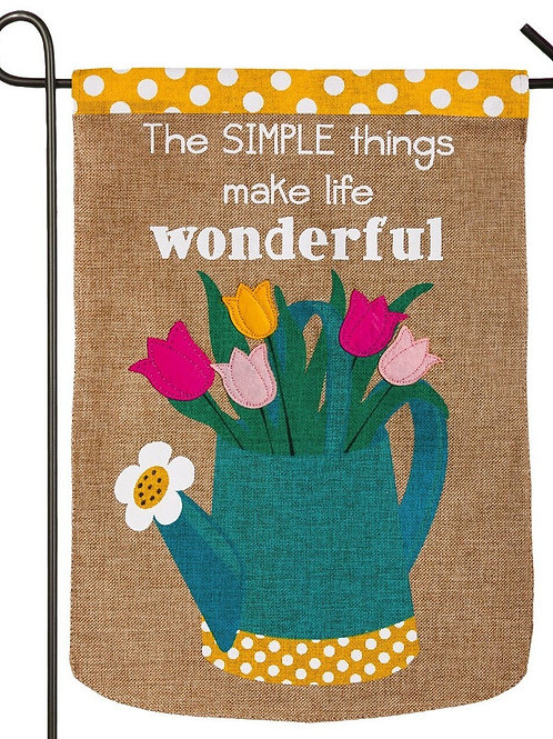 "Simple Things 14B3583 Evergreen Burlap Garden Flag 12.5"" x 18"""