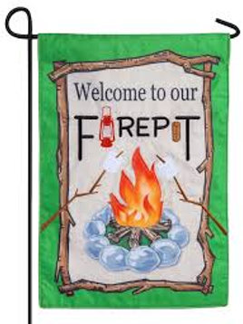 "Welcome to our Firepit 14B4407 Evergreen Burlap Garden Flag 12.5"" x 18"""