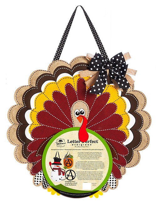 Turkey Monogram Door Decor 2DHB1088 Evergreen Door Hanger