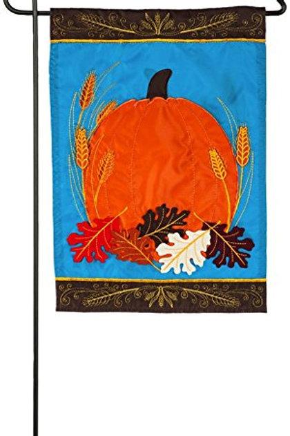 "Pumpkin Harvest 168700 Evergreen Applique Garden Flag 12.5"" x 18"""