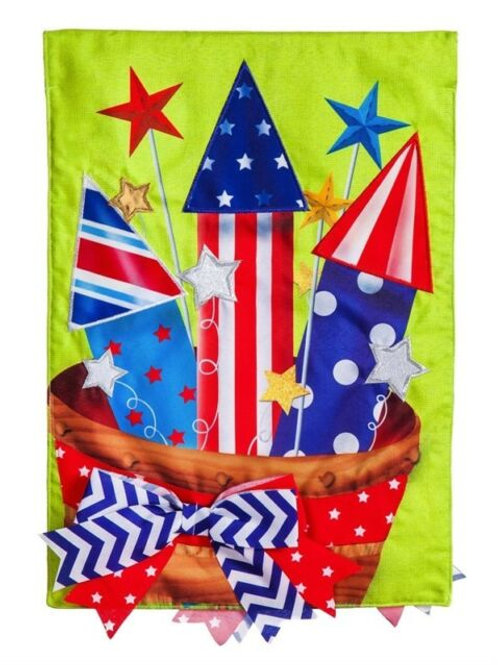 "Basket of Fireworks 13B4199BL Evergreen Burlap HOUSE Flag 28"" x 44"""