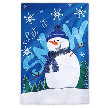 "Let It Snow 157852 Evergreen Applique HOUSE Flag 28"" x 44"""