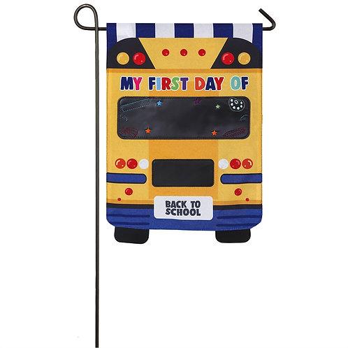 """School Bus 14L8270 Evergreen Linen Garden Flag 12.5"""" x 18"""""""
