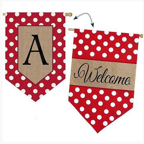 "**OPEN FLAG** Polka Dot Monogram ""A"" Burlap Garden Flag 12.5"" x 18"""