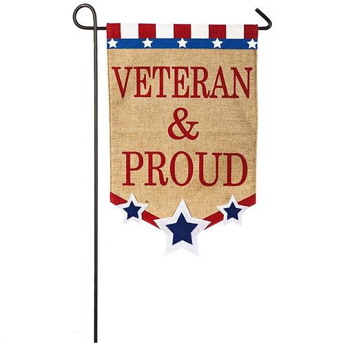 "Veteran & Proud 14B3592 Evergreen Burlap Garden Flag 12.5"" x 18"""