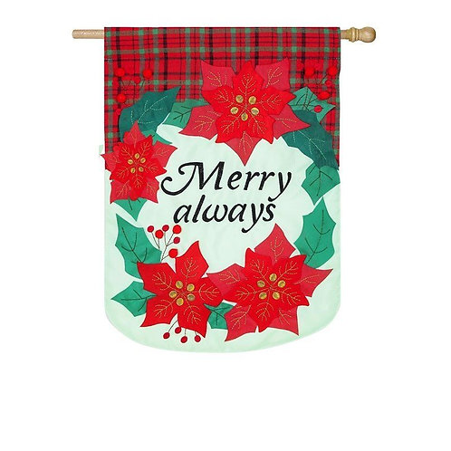 """**OPEN FLAG NO PACKAGING** Merry Always 158842 Applique HOUSE Flag 28"""" x 44"""""""