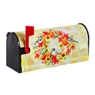 Fall Wreath and Chickadees Evergreen Mailbox Cover 56645