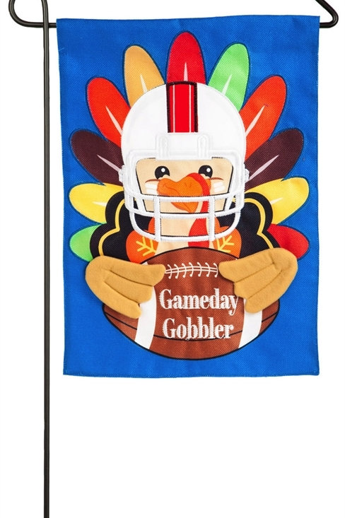 "Game Day Gobbler 14B4508BL Evergreen Burlap Garden Flag 12.5"" x 18"""