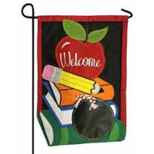 "School Welcome 168693BL Evergreen Applique Garden Flag 12.5"" x 18"""