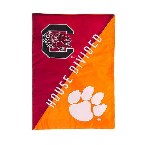 "NCAA Team Clemson/South Carolina House Divided APPLIQUE Garden Flag 12.5"" x 18"""