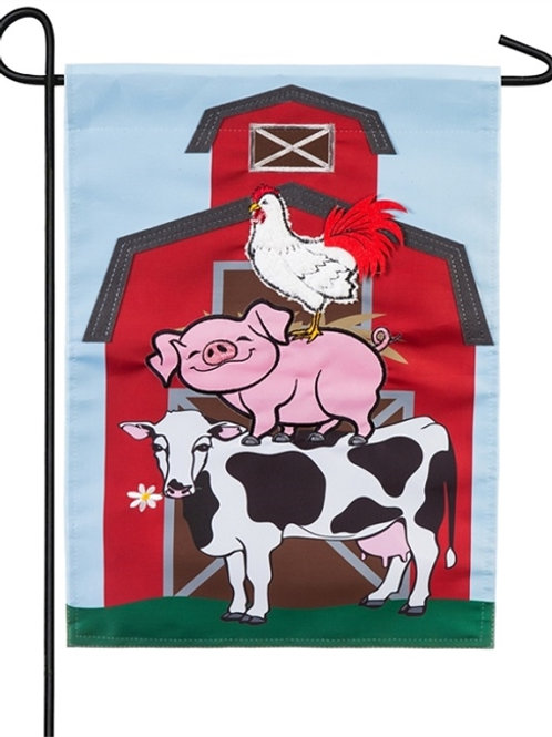 """Stacked Farm Animals 168887 Evergreen Applique Garden Flag 12.5"""" x 18"""""""
