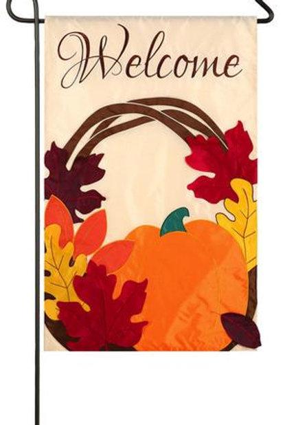 """Welcome Wreath 168458 Evergreen Applique Garden Flag 12.5"""" x 18"""""""