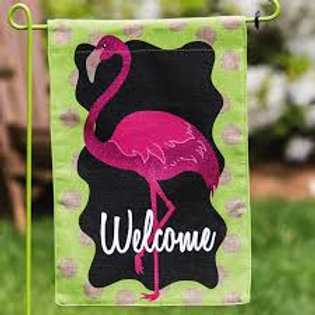 "**OPEN FLAG NO PACKAGING** Flamingo 13B3727BL Burlap HOUSE Flag 28"" x 44"""