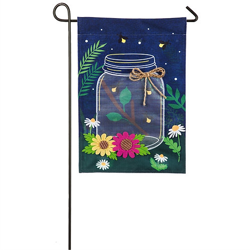 """Fireflies with Mason Jar 14L4809 Evergreen Linen Garden Flag 12.5"""" x 18"""""""