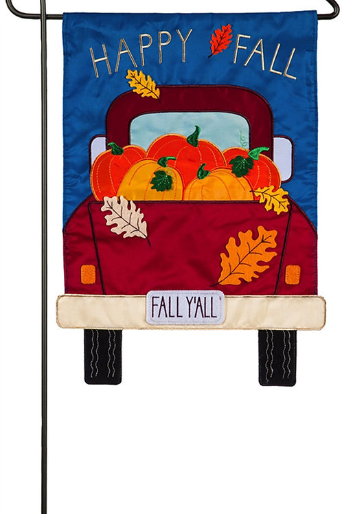 "Fall Y'all Pickup Truck 168699BL Evergreen Applique Garden Flag 12.5"" x 18"""