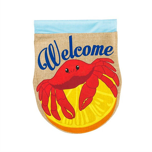 "Crabby Welcome 13B3371 Evergreen Burlap HOUSE Flag 28"" x 44"""