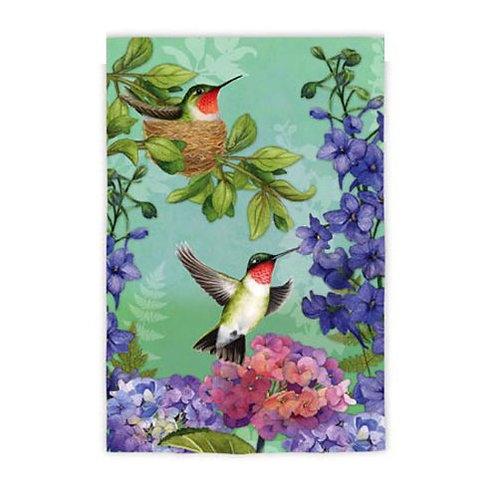 """Hummingbird Nest 141943 Evergreen Silk Garden Flag 12.5"""" x 18"""""""