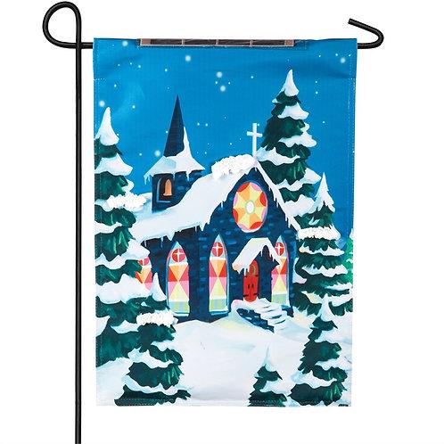 """Snowy Church Solar LED LIGHT UP 14SL8285 Garden Flag 12.5"""" x 18"""""""