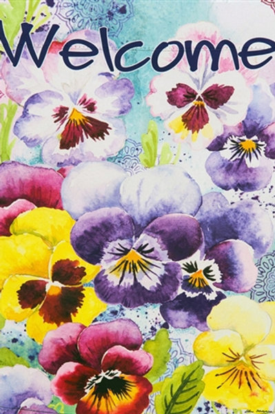 """Watercolor Pansies 13S4085 Evergreen Suede HOUSE Flag 28"""" x 44"""""""