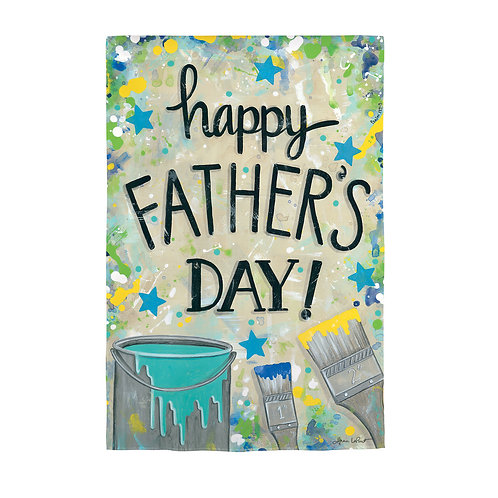"""Happy Father's Day Dropcloth 14S9773 Evergreen Suede Flag 12.5"""" x 18"""""""