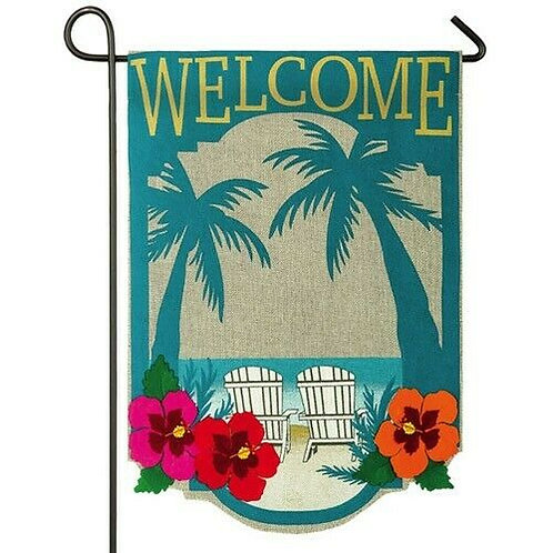 "Welcome to Paradise 14B3589 Evergreen Burlap Garden Flag 12.5"" x 18"""