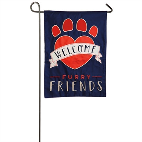 "Welcome Furry Friends 168746 Evergreen Applique Garden Flag 12.5"" x 18"""