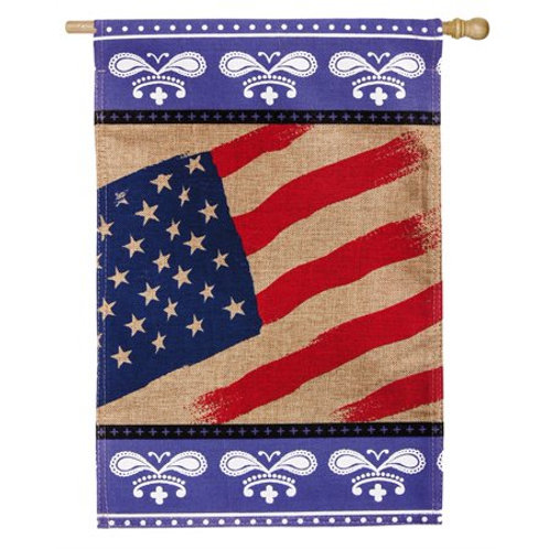"**OPEN FLAG** Patriotic Bandana 13B3261 Evergreen Burlap HOUSE Flag 28"" x 44"""