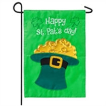 "Happy St. Pat's Day 168892SA Evergreen Applique Garden Flag 12.5"" x 18"""