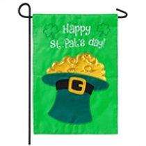 """Happy St. Pat's Day 168892SA Evergreen Applique Garden Flag 12.5"""" x 18"""""""