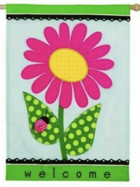 "Welcome Daisy 158631BL Evergreen Applique HOUSE Flag 28"" x 44"""