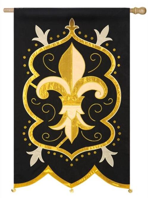 """**OPEN FLAG NO PACKAGING** Fleur De Lis 158381 Applique HOUSE Flag 28"""" x 44"""""""