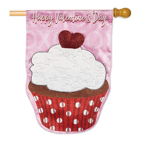 "Valentine's Day Cupcake 13L8372B Evergreen Linen HOUSE Flag 28"" x 44"""