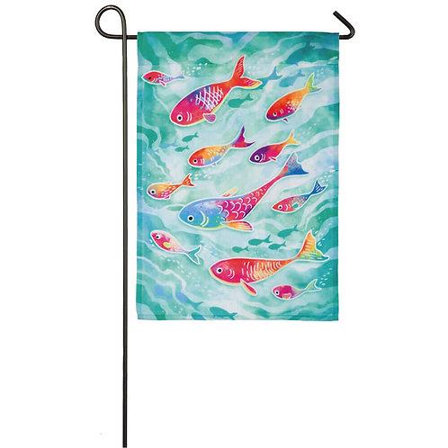 "School of Fish 14O8515 Evergreen Organza Garden Flag 12.5"" x 18"""