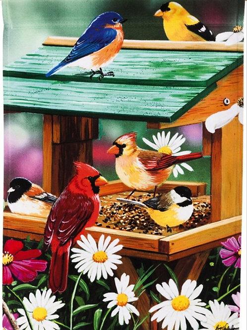 """Backyard Birds Spring Feast 13A3689 Evergreen Satin HOUSE Flag 28"""" x 44"""""""