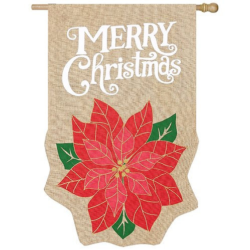 """**OPEN FLAG NO PACKAGING**  Holiday Poinsettia Burlap HOUSE Flag 28"""" x 44"""""""