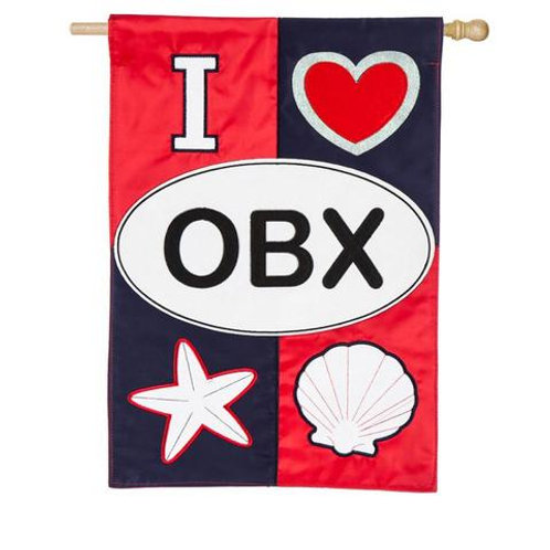 """**OPEN FLAG NO PACKAGING** OBX 158790 Evergreen Applique HOUSE Flag 28"""" x 44"""""""