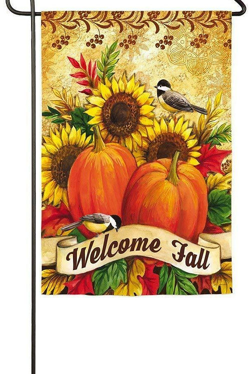 "Fall Sunflowers Pumpkins Birds 14S3891 Evergreen Suede Garden Flag 12.5"" x 18"""